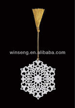 Hot Sale Porcelain Christmas Snowflake Hanging Ornament Stand with Porcelain Ball Pendant WS331-SS10098B