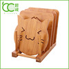 China Supplier Factory Supply Natural Bamboo Cup Coaster Set with Holder