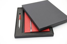 Customized engraving style A6 paper PU leather stationery memo notebook gift set