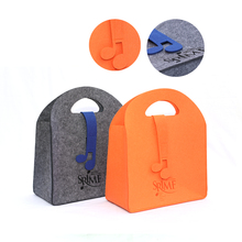 fashionable multi color wool felt fabric carry bags