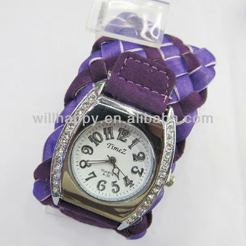 Noval women color fabric band knit twinkling watch(SW-500)