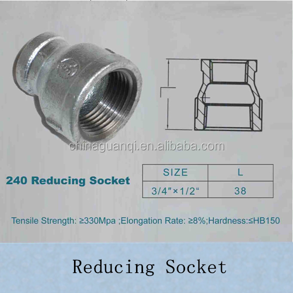 FM/UL/TSE/CE/ABNT/ISO Malleable Galvanized Iron/GI Plumbing Joints Pipe Fittings Ductile Iron Banded Reducing Socket