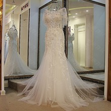 LS47705 Real shawl crystal mermaid malaysia arabic prom heavy beaded plus size white party dresses