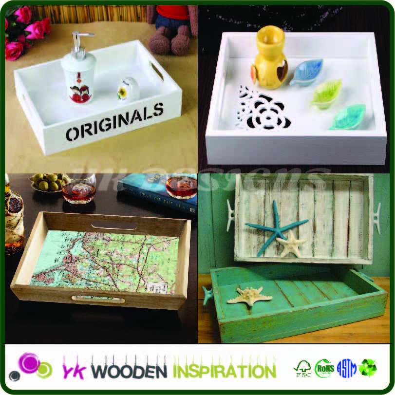 Craved decprative wooden unfinished wooden tray for Home Decoration