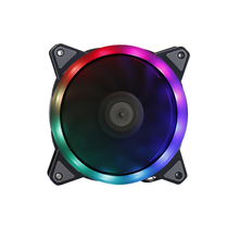 12025 12cm double loop <strong>RGB</strong> cooling fan box fan without remote control color programming rainbow LED lights and controller