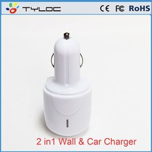 New Arrivel 2 in 1 Wall and Car USB charger for iPhone 6 for Android Mobile phone