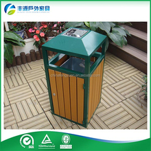 Outdoor Plastic Wood Dustbin Outdoor Trash bin Recycle Park Metal Trash Bin