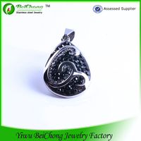 Personalised Drop Silvery Pendant with Fancy White and Black Stones Stainless Steel Jewelry Pendant