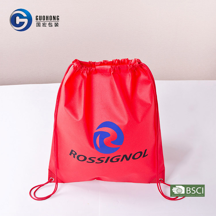Custom logo colorful printing non woven backpack bag drawstring with factory price