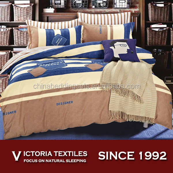 Brand New Jeans Printed Bedding With Stripe Sheets Set and Pillowcases