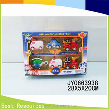 Hot selling products poli robocar Russia cartoon toys Pull back car plasitc toys poli
