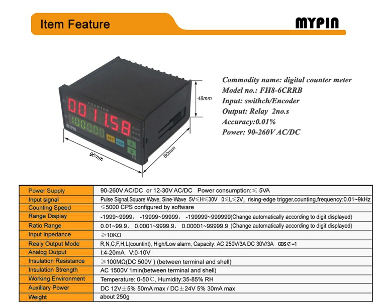Mypin 2016 FH8-6CRRB 2 preset length/Yard counter meter