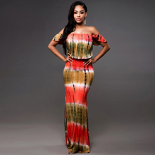 Summer Fashion Women Bodycon Dress Ladies Off Shoulder African Print Long Frog Sexy Maxi 2016 Women Dresses Casual