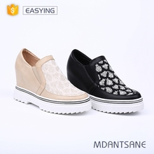 Latest design rubber casual women height increasing shoes supplier