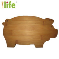 High quality pig animal bamboo cutting board custom animal shaped cutting board kitchen wholesale custom cutting board
