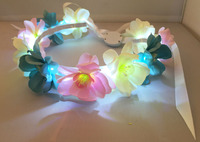 Artificial led Flowers Crown & flashing garland for Festivals and Parties wedding,lighting flower crown