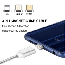 High Speed Charging Data/Sync 3 in 1 Magnetic Phone Charger cable Micro USB Braided with Indicator light for iPhone