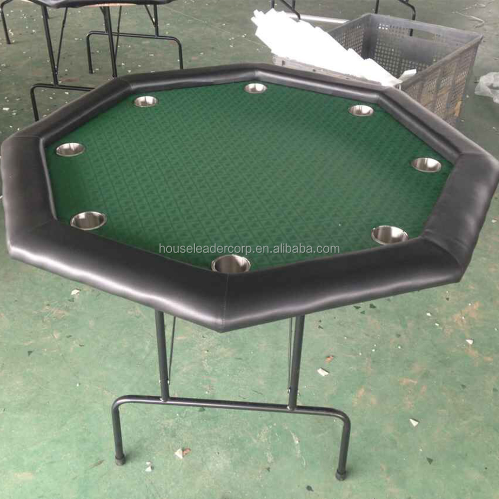 48 Inch small foldable octagonal blackjack poker table with 8 stainless steel cup holders
