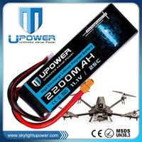 Upower rechargeable 11.1v 3s 2200mah lipo batery for rc models