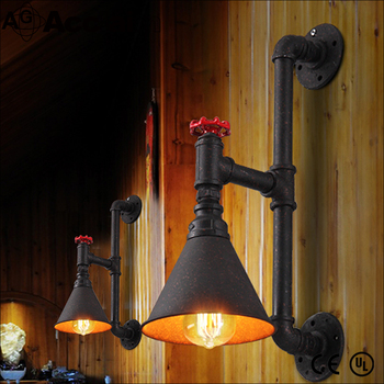 Iron water pipe antique industral loft wall lamp for pub
