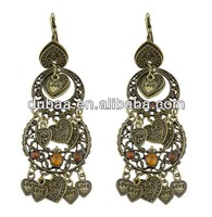 2014 Wholesale Antique Brass Crystal Embessed Alloy Fashion Indian Earrings Design