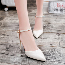 17 spring and summer leather with a fine pointed shoes shallow mouth high-heeled shoe buckle single bright surface <strong>air</strong> measuring