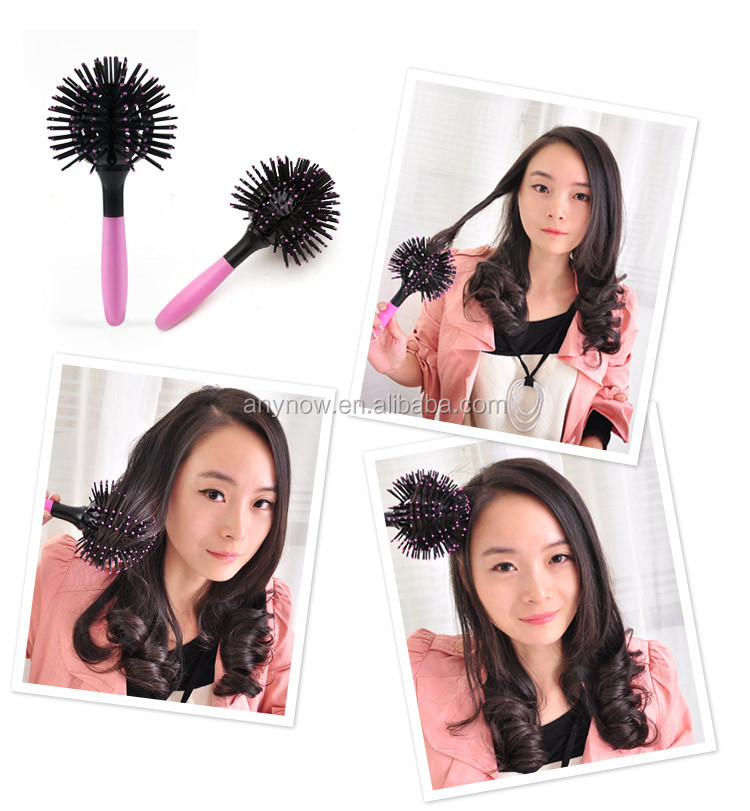 Professional Pink Handle Ball Shape Round Hair Brush For Beauty Salon