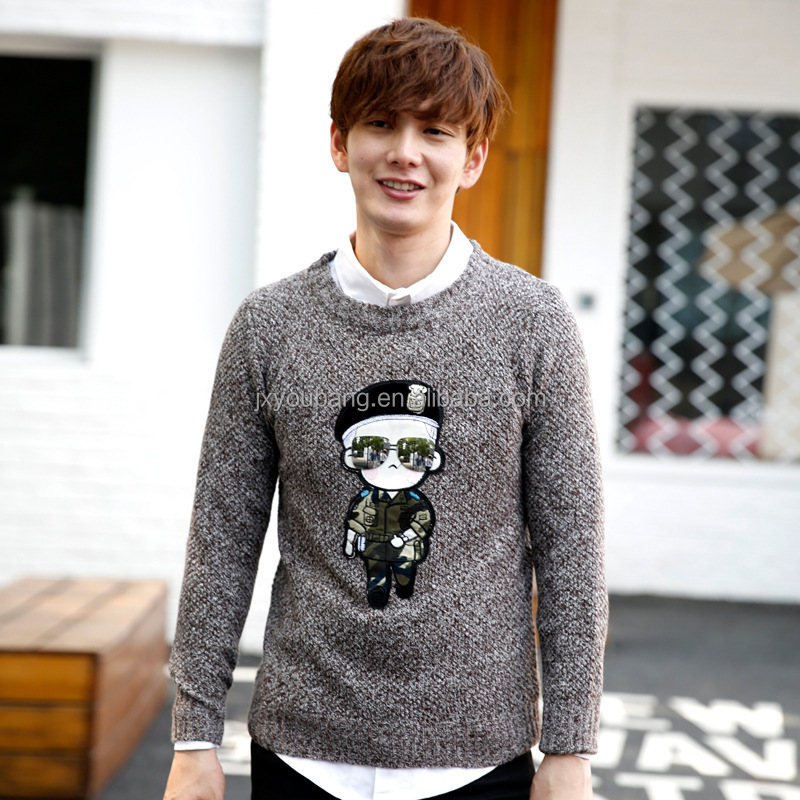 Hot sale crew neck casual style boys cute cartoon print pullover sweater
