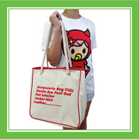 Baby Rinne Eco-friendly Cotton Rope Shoulder Strap Printed White Canvas Convenient Tote Bag For Outdoor