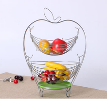 2017 new desig home kitchen 2 tier apple shape metal iron wire hanging fruit storage basket