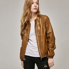 High quality fashion design women clothing plain customize leather lady jacket