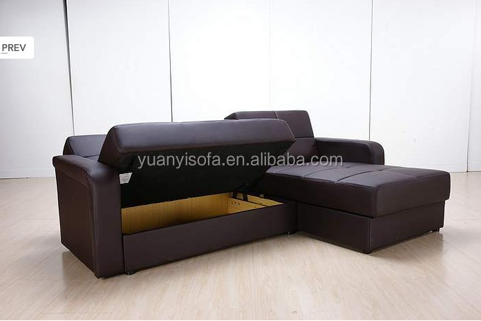 YB2204 Cheap Bonded leather sofabed,High quality functional L sofa with storage