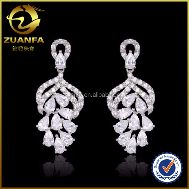 high quality shining 925 silver latest design cubic zirconia chandelier earrings