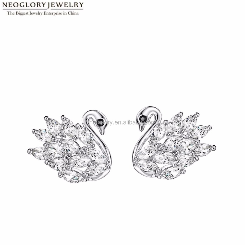 rhodium plated brass zircon stud earrings with sterling silver pin