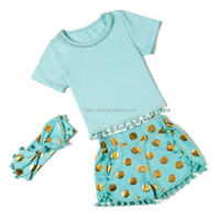 China supplier mint gold polk dots child's clothes summer two pieces outfits for girl with headbands