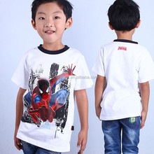 2016 fashion summer led flashing lights up 100% cotton boy T-shirt for spiderman