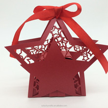2016 Hot Custom red star Shape Laser Cut paper wedding candy box chocolate favour box baby shower gift box