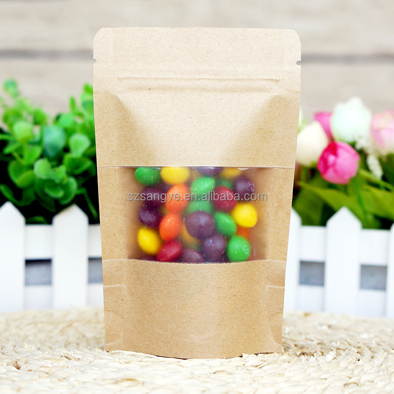 resealable plastic kraft paper stand up packaging pouch bags for nuts