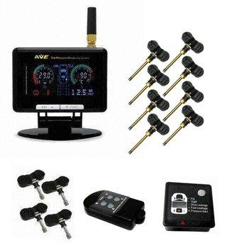 AVE TPMS Total Solution:AVE cool Color LCD TRUCK/BUS/CVs/Car TPMS Pressure gauge Tyre Pressure Monitoring System for 1~27 tires
