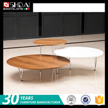 modern living room furniture design wooden center table / stainless steel round table / wooden tea table TA125