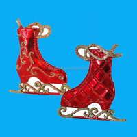 Red Ice Skates Wholesale Christmas Decorations Hanging Ornaments, Set of 2