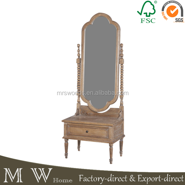french solid oak wood frame standing mirrored dresser with drawer, bedeoom dresser