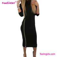 Hot Sale Black Zipper New Fashion Office Wholesale Women Midi Model Photos Without Dress