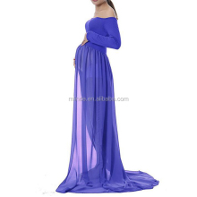 Maternity Clothing Wholesale Bulk Buy Off Shoulder Gown Split Front Photography Long Sleeve Maxi Dresses For Pregnant Women