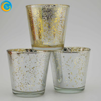 golden yellow Silver plated glass candle holder