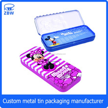 Wholesale cartoon cheap metal pencil case for kids