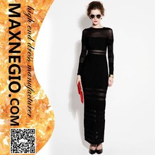 stylish high end black stripe high slit see through prom long sleeve bandage dress