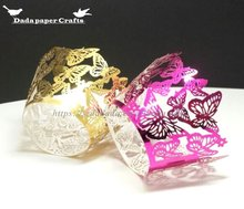 WB45-A Pearl Paper Butterfly laser cut cupcake wrapper Lace Hollow Cake Surrounding Edge Paper Cup, Baking Supplies