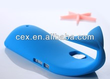 New 3D Fixable Creative Whale Silicon Stand Holder Case Cover Skin for Apple iPhone 5 5G Blue