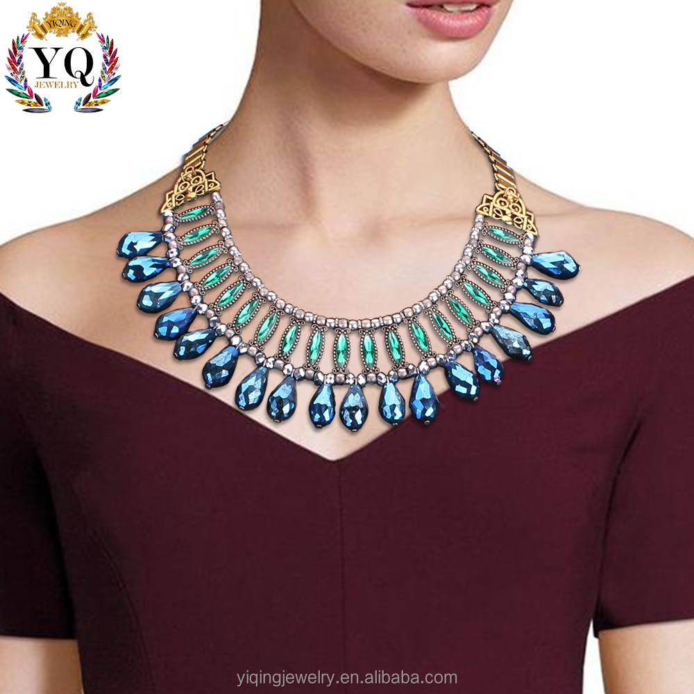 NYQ-00220 2016 latest design fashion elegant bohemian colorful crystal gold plating necklace for gift anniversary party wedding